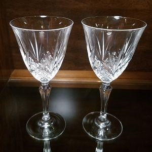 Heavy Clear Crystal Patterned Stemware - Pair